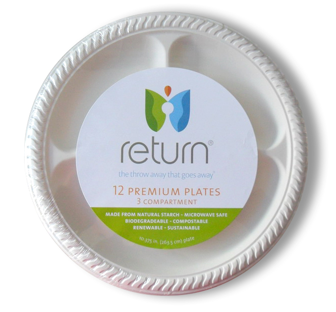 """100% Natural Starch 10 3/8"""" Compostable Compartment Plates"""