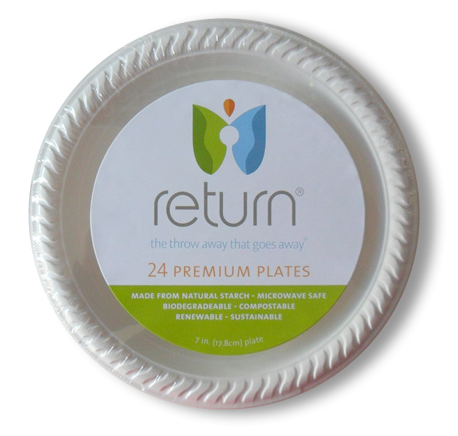 """100% Natural Starch 7"""" Compostable Plates"""