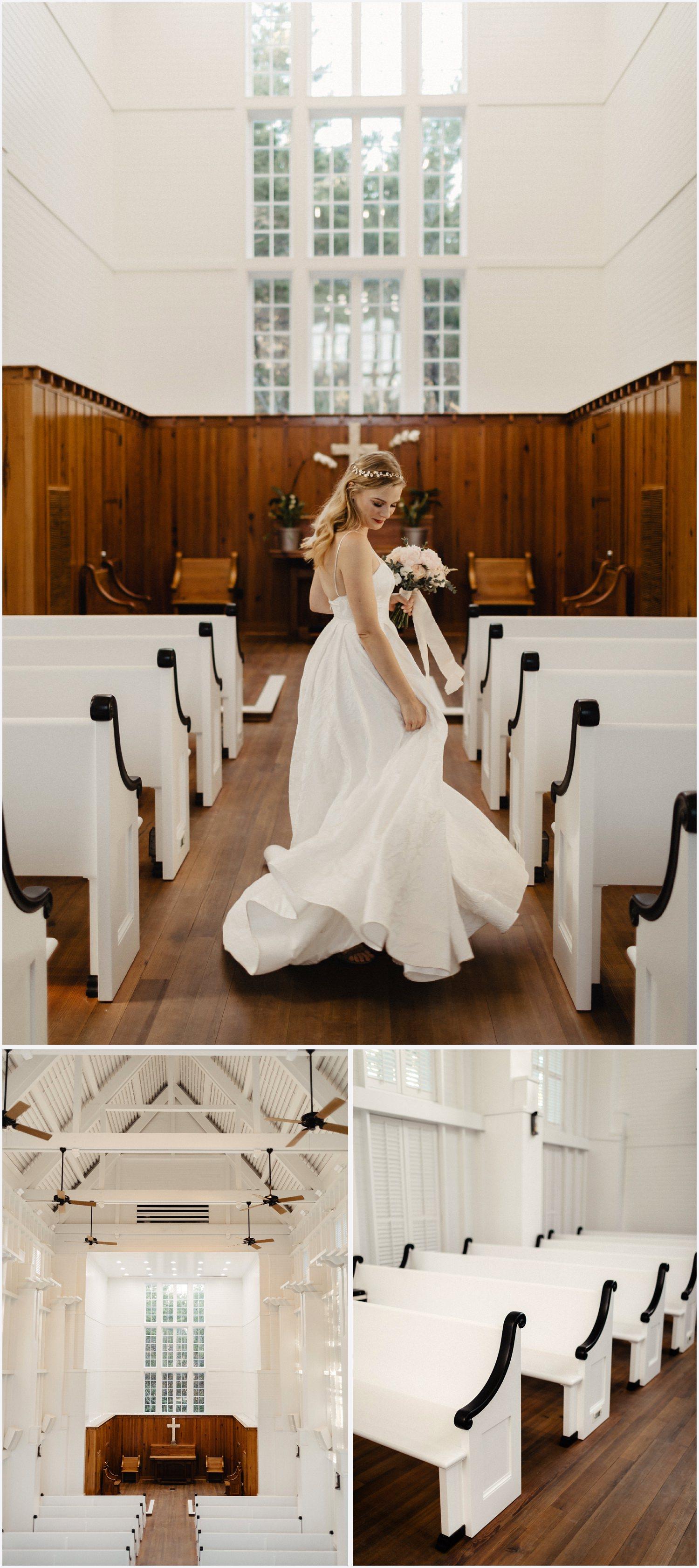 Bride dancing in the Seaside Chapel