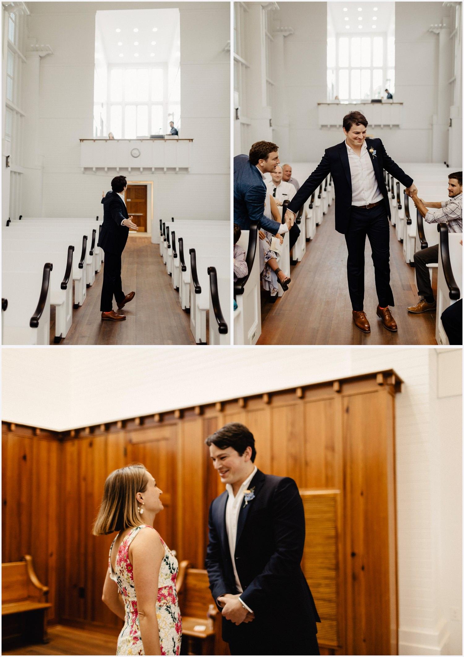 Groom arriving to his Seaside Chapel wedding