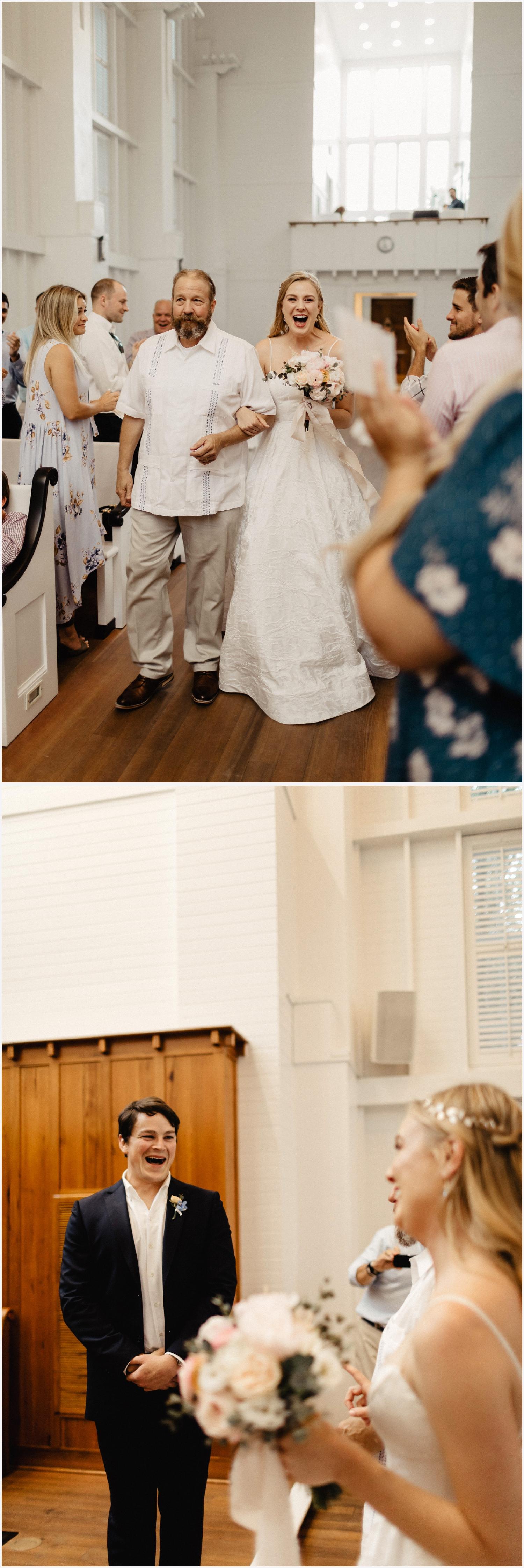 Bride arriving to her Seaside Chapel wedding