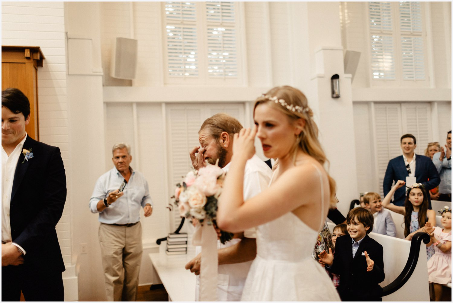 Bride and her dad crying at her Seaside Chapel wedding