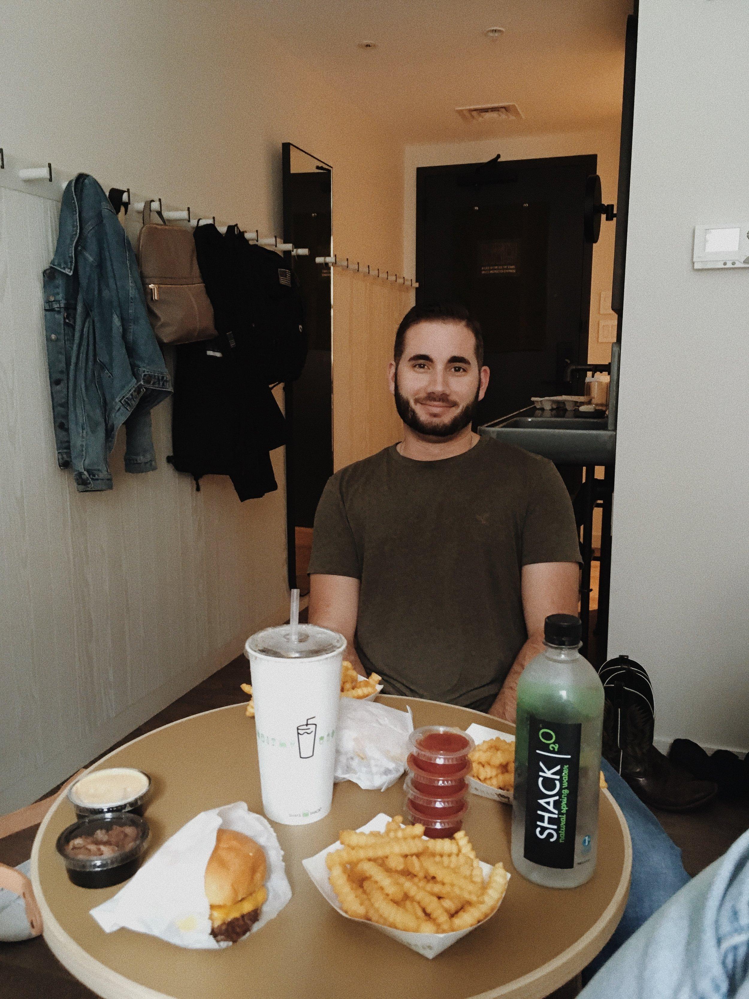Eating Shake Shack in Manhattan New York