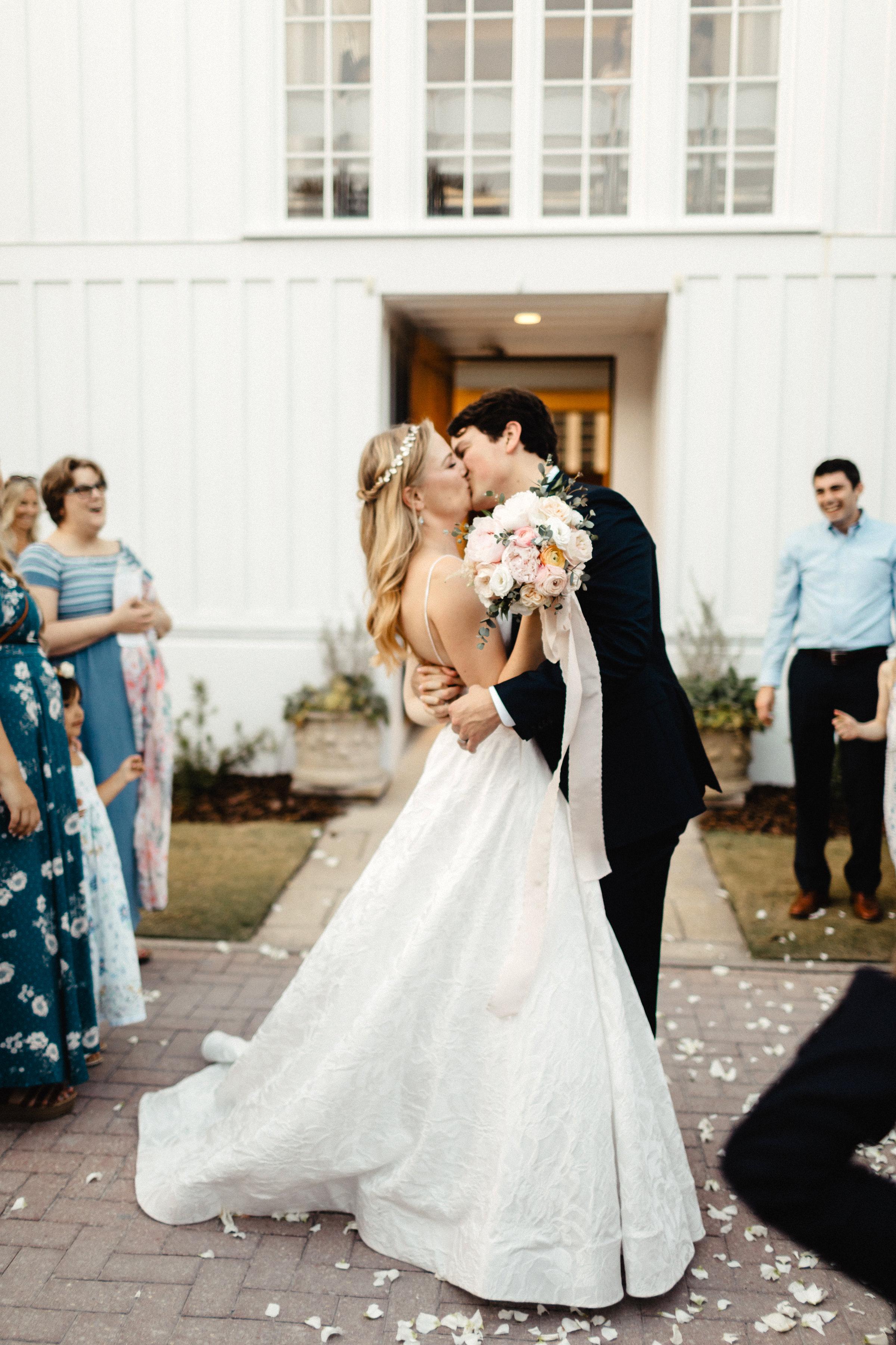 Wedding petal toss outside the Seaside Chapel