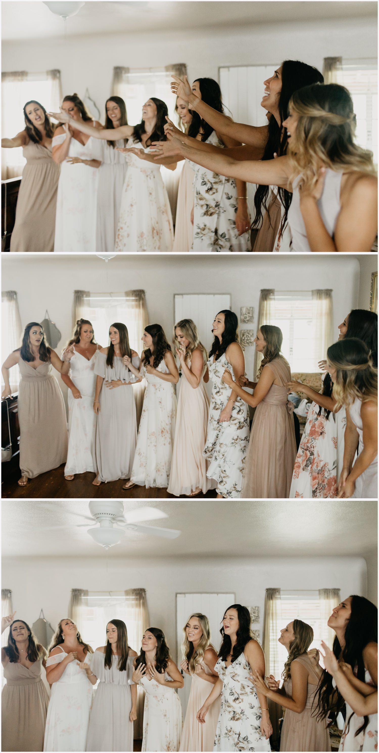 Bridesmaids singing to the bride in the Gabrella Manor