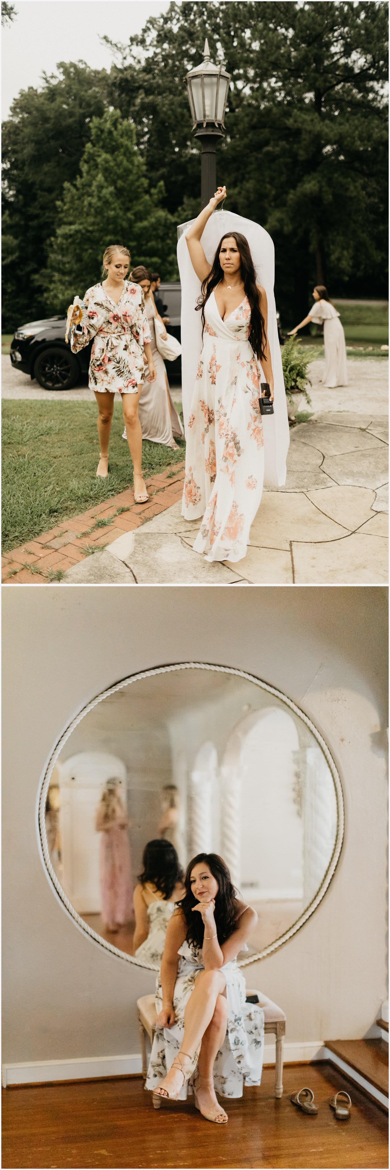 Bridesmaids getting ready at the Gabrella Manor