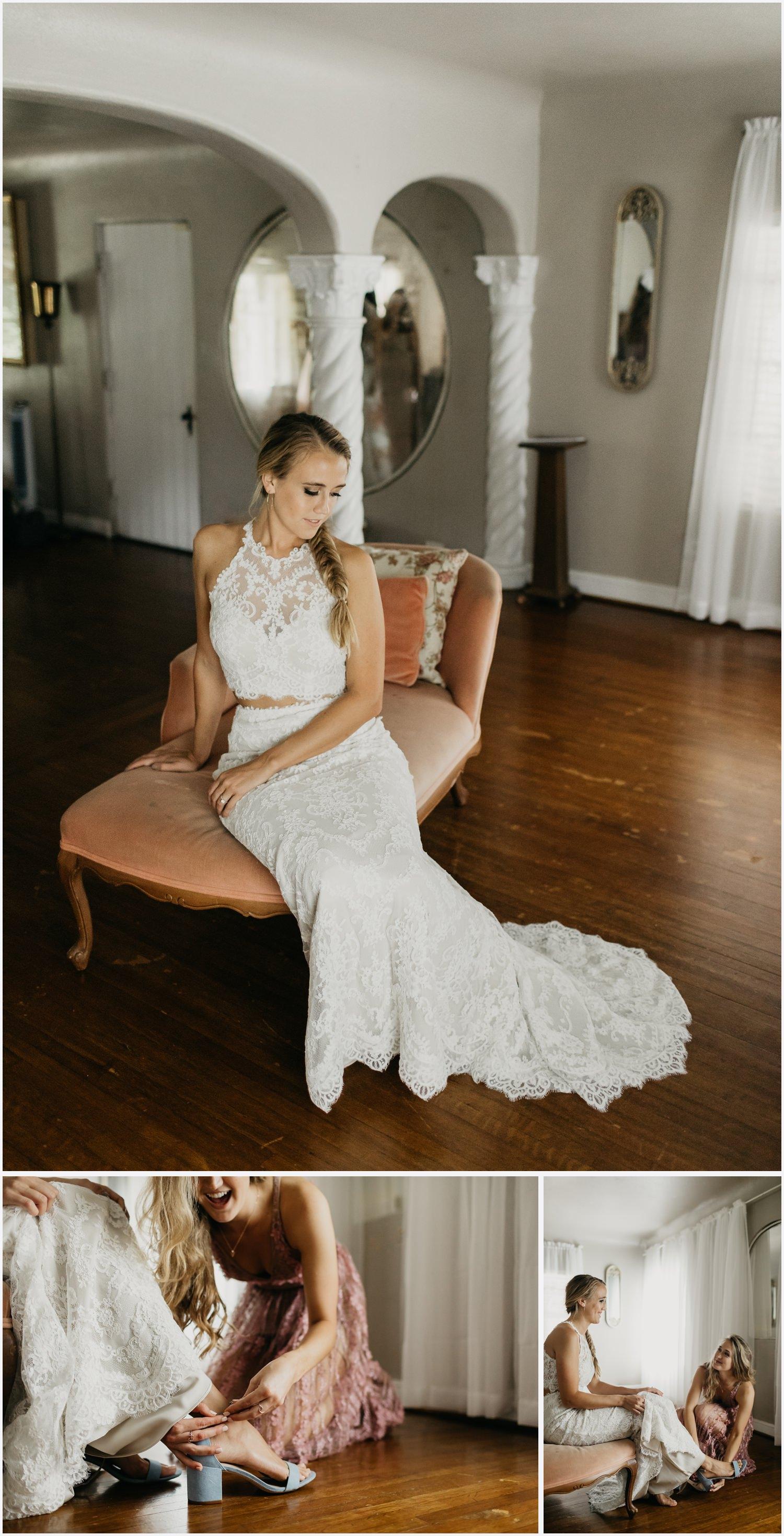 Bride getting ready at the Gabrella Manor
