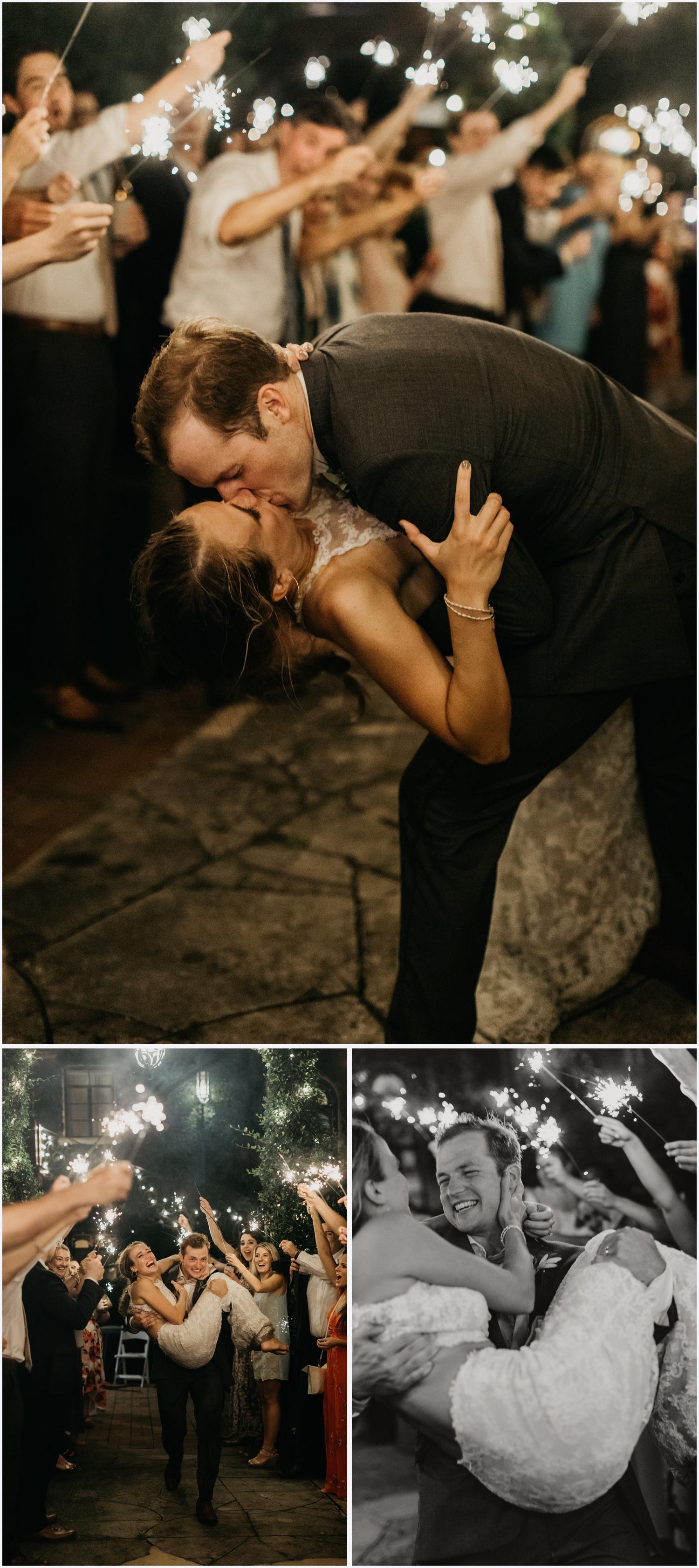 Wedding sparkler exit at the Gabrella Manor