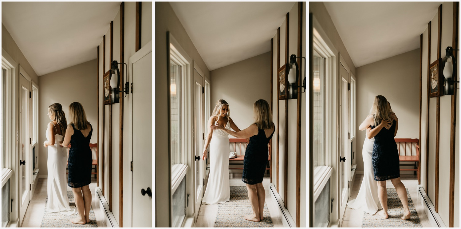 Bride getting ready in a Cape Cod airbnb