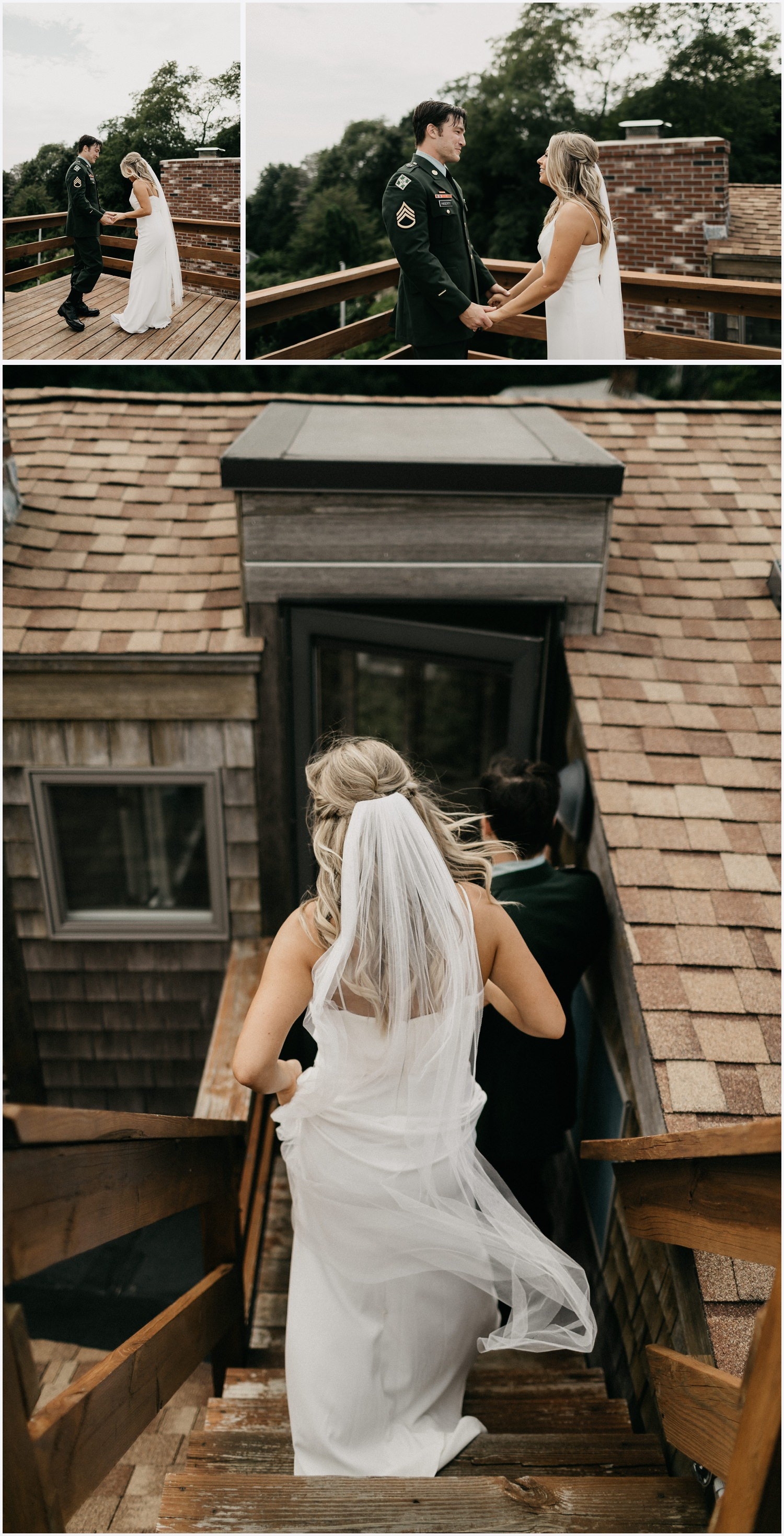 Bride and groom's first look at a Cape Cod airbnb