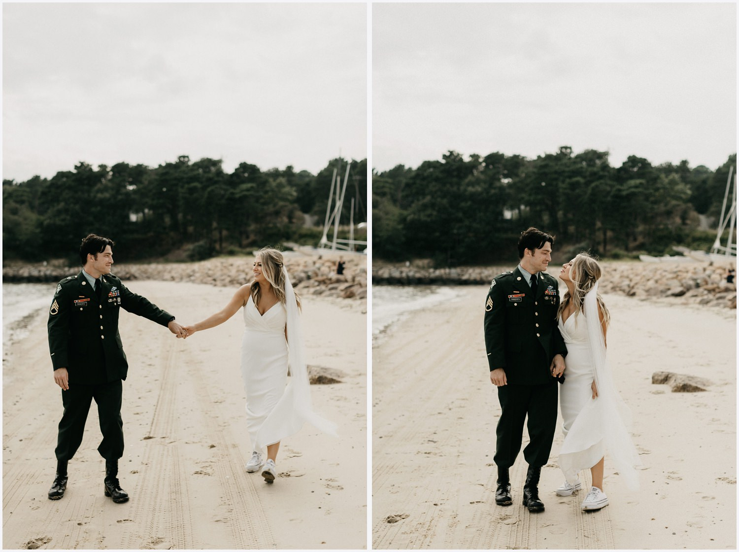 Bride and groom at the beach by the Chequessett Yacht & Country Club