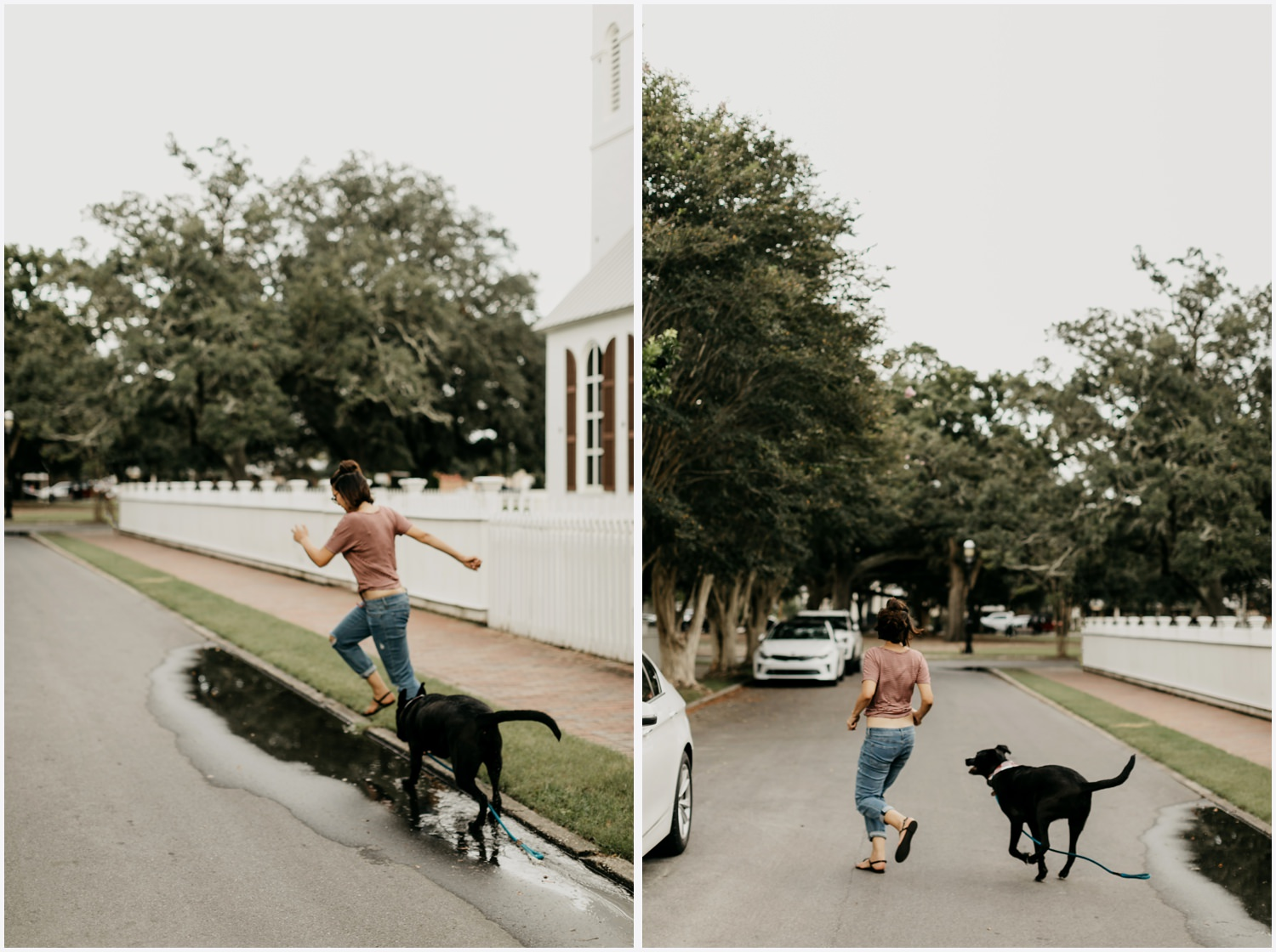 A girl running with her dog in Downtown Pensacola