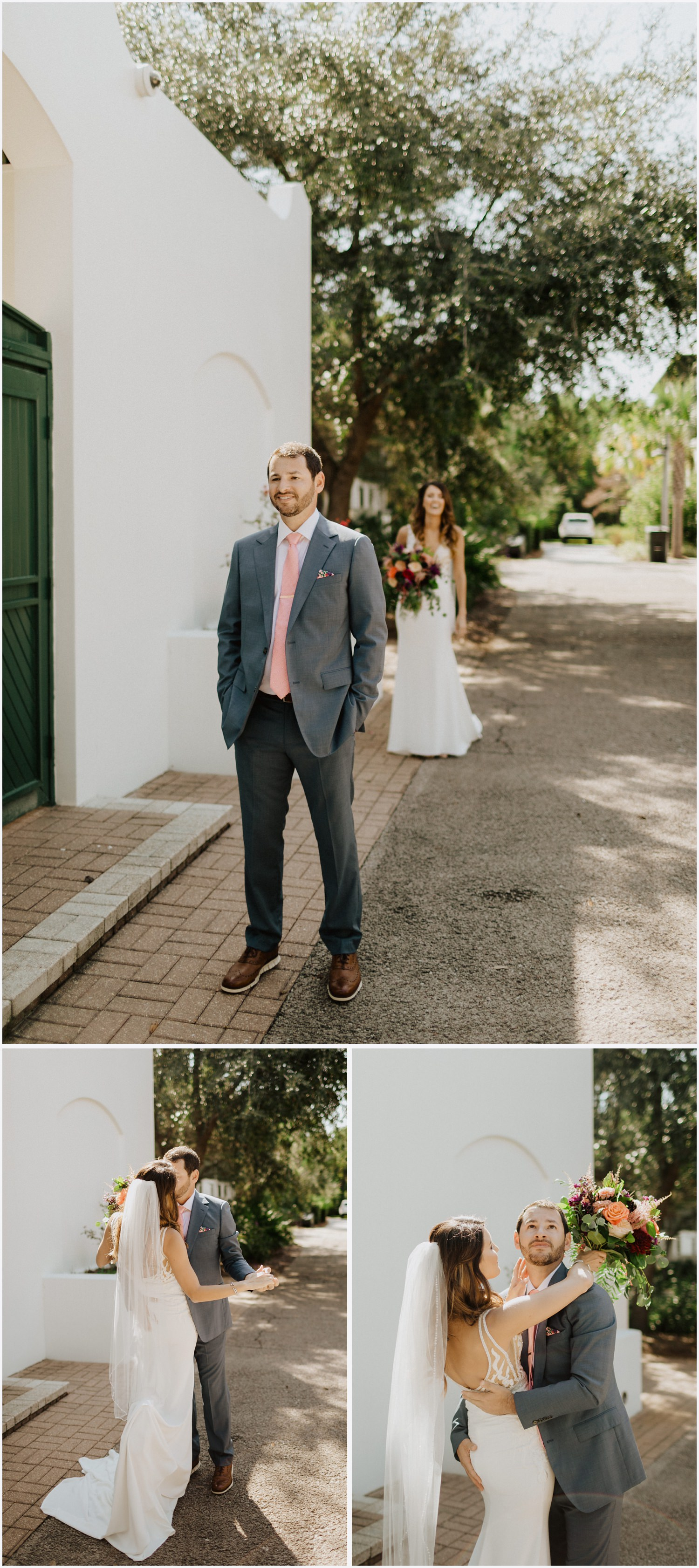 Bride and groom have a first look in Rosemary Beach