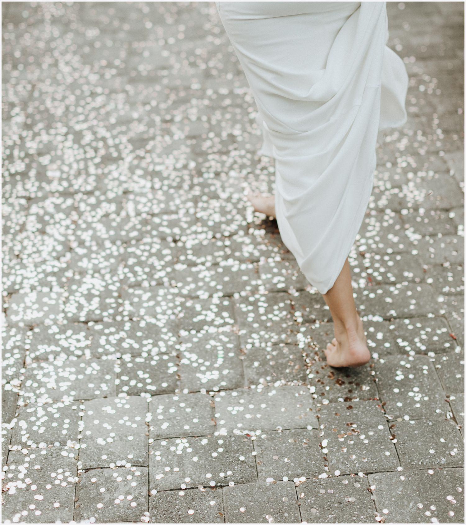 bride walking through sparkles