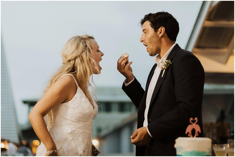 Cake Cut Bud and Alley's Seaside Wedding