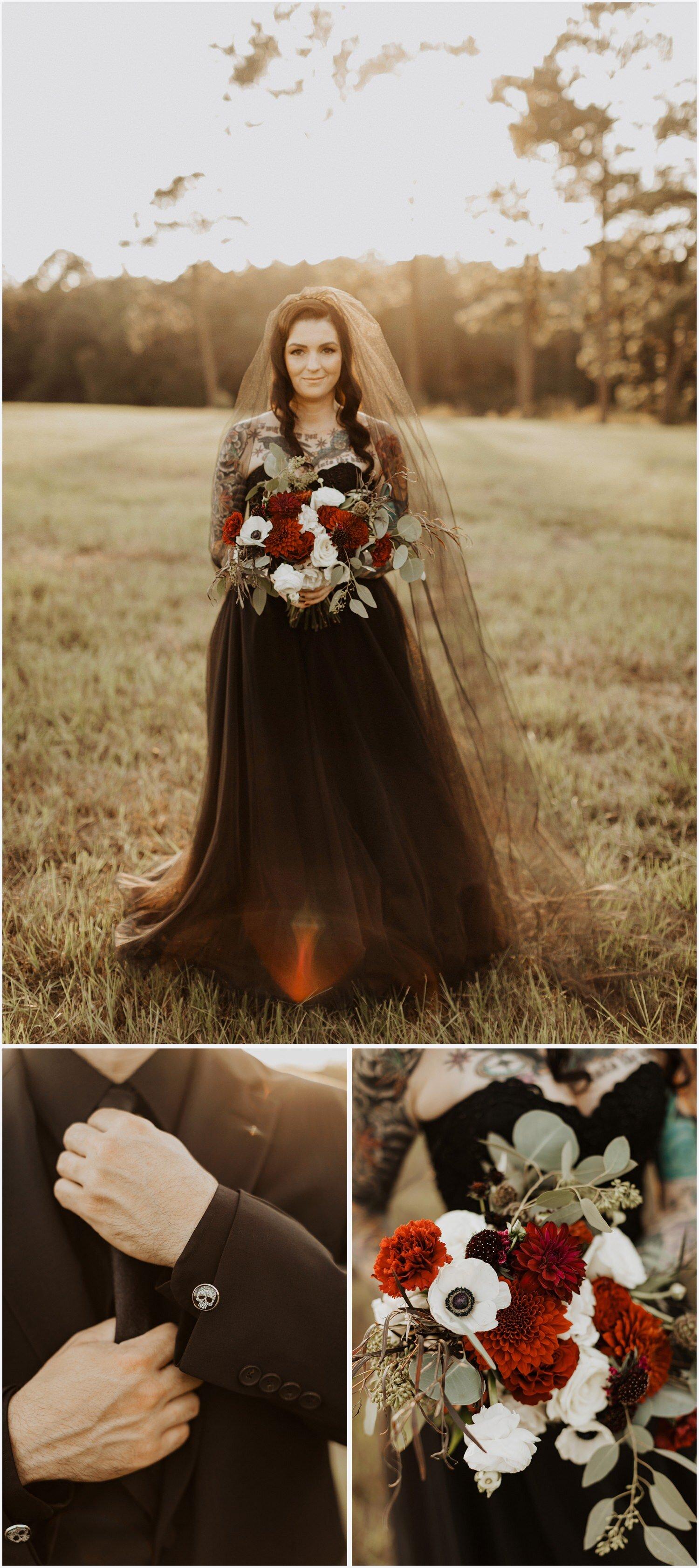 Camp Retreat Halloween Wedding Bride and Groom
