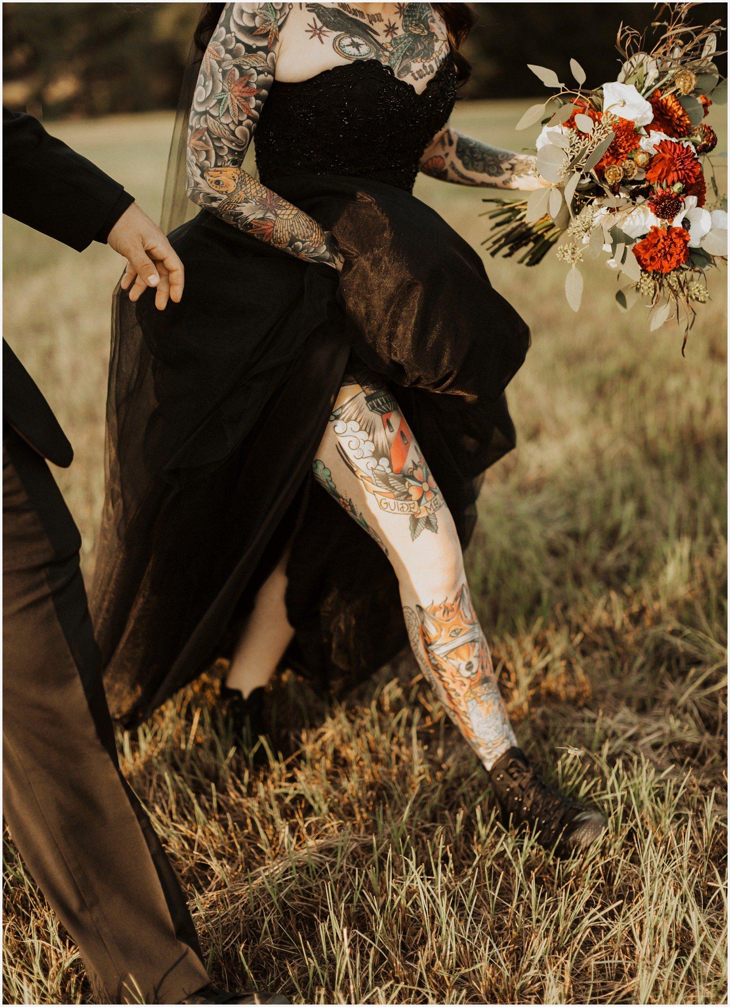 Camp Retreat Halloween Wedding Tattoo bride