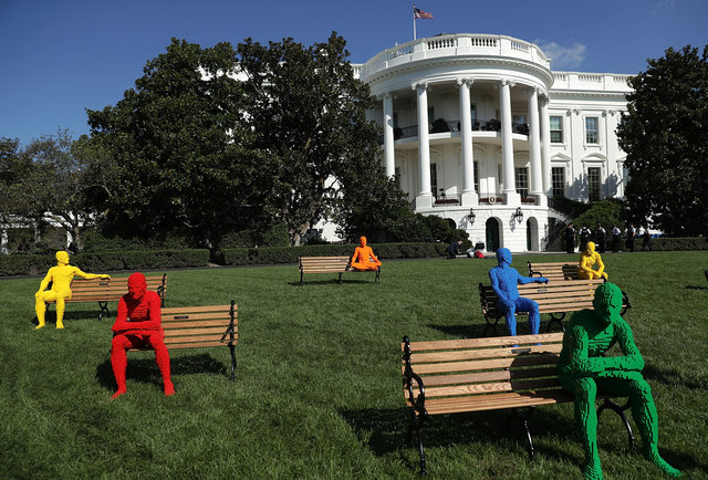 An art piece created by artist Nathan Sawaya from his The Park People series is seen during the South by South Lawn. (Photo by Alex Wong/Getty Images)