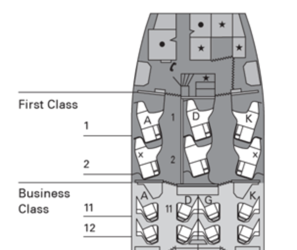 Cathay Pacific 777-300ER First Class Seatmap. (Courtesy cathaypacific.com)