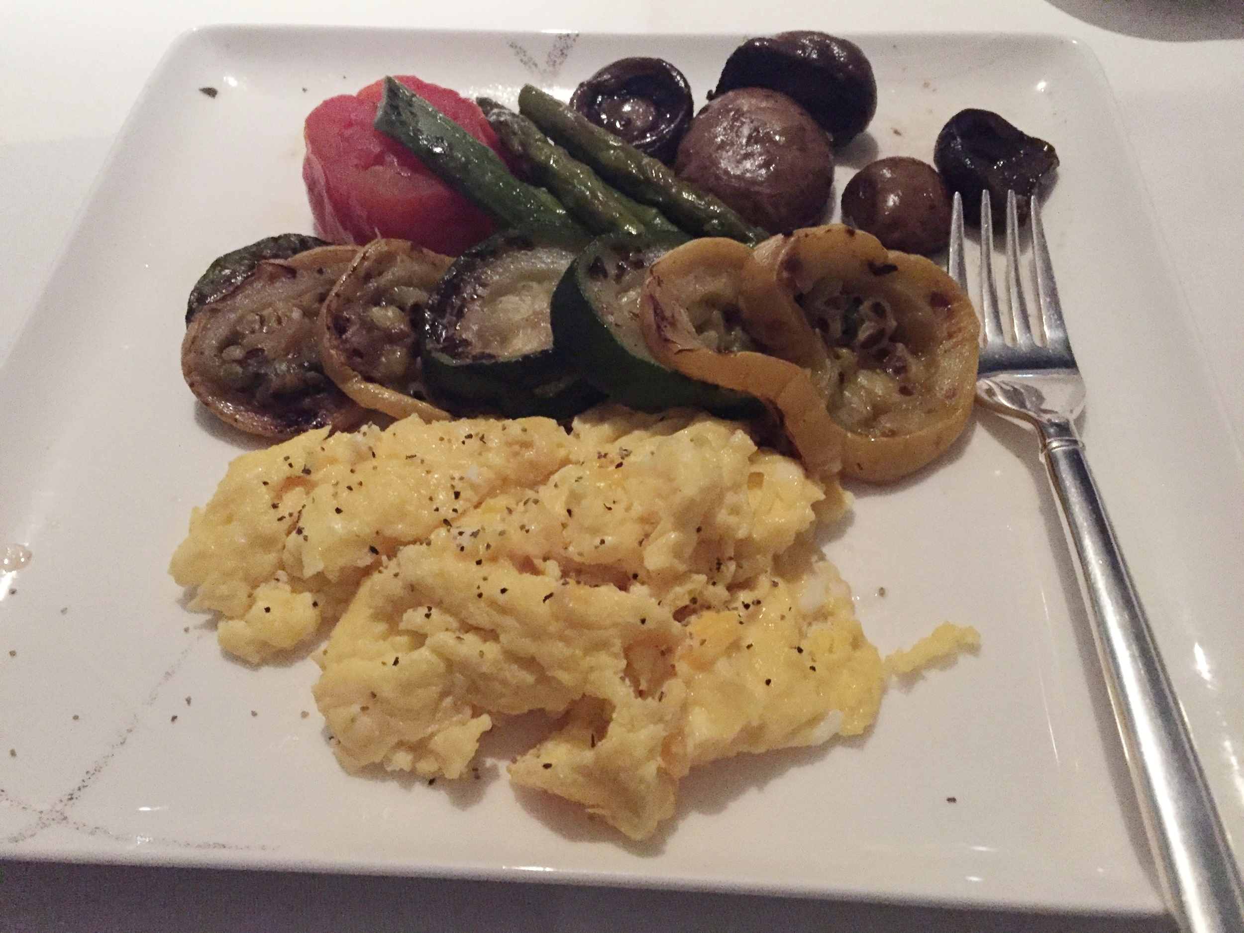 Cathay Pacific First Class scrambled eggs made-to-order