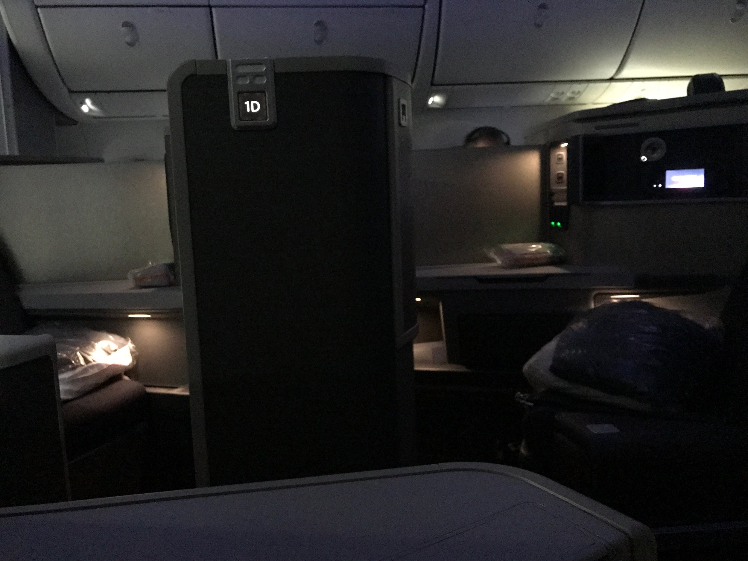 AA 787 Dreamliner Business Class suite lights