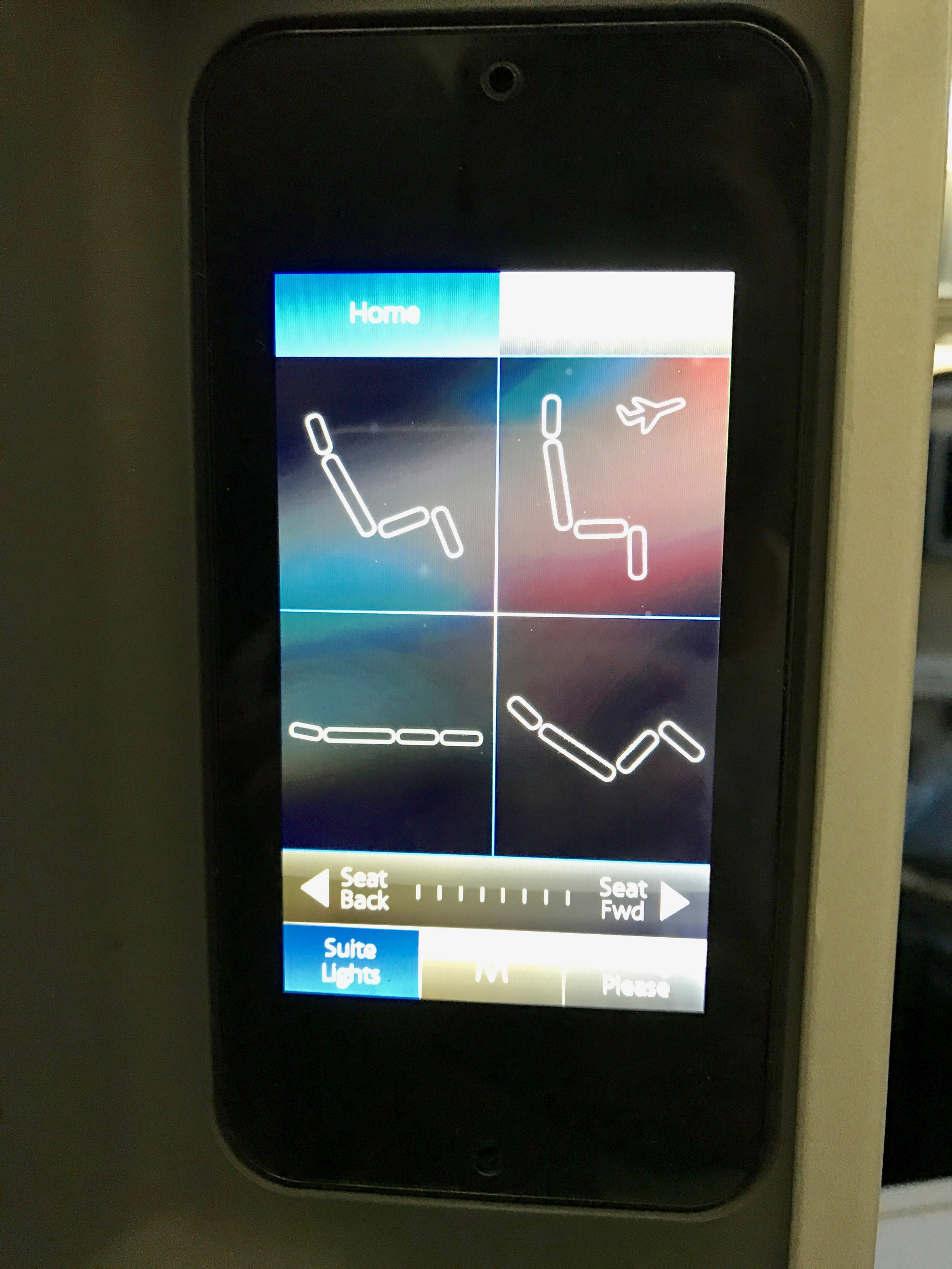 AA 787 Dreamliner Business Class seat control touchscreen