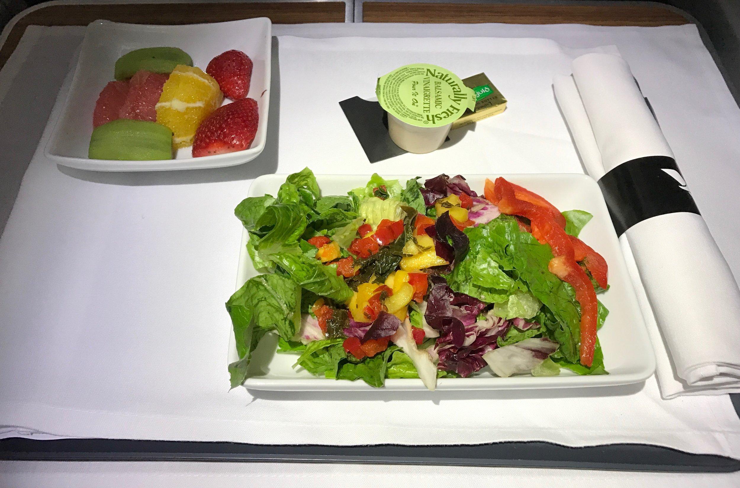 AA 787 Dreamliner Business Class salad