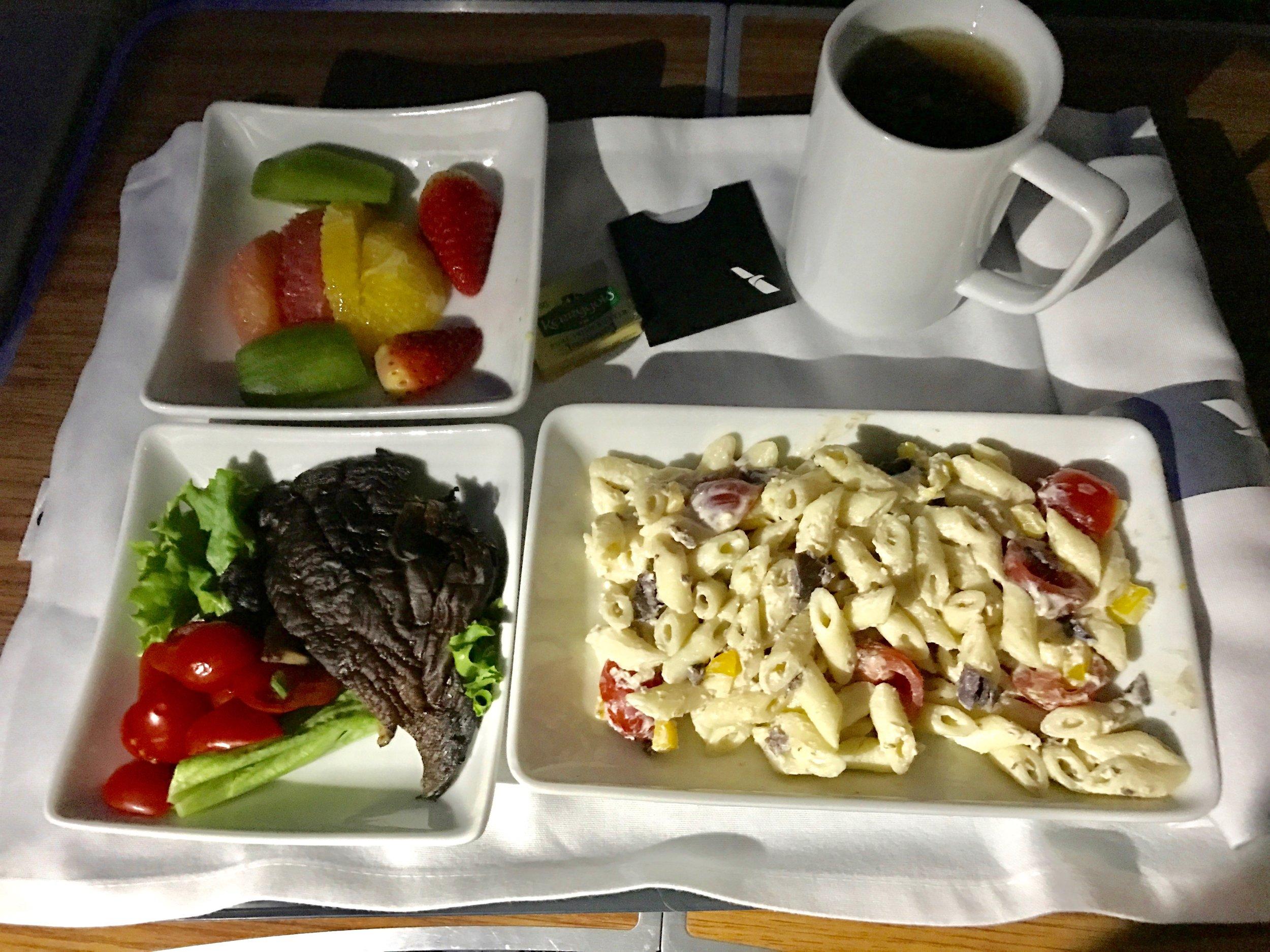 AA 787 Dreamliner Business Class vegetarian breakfast