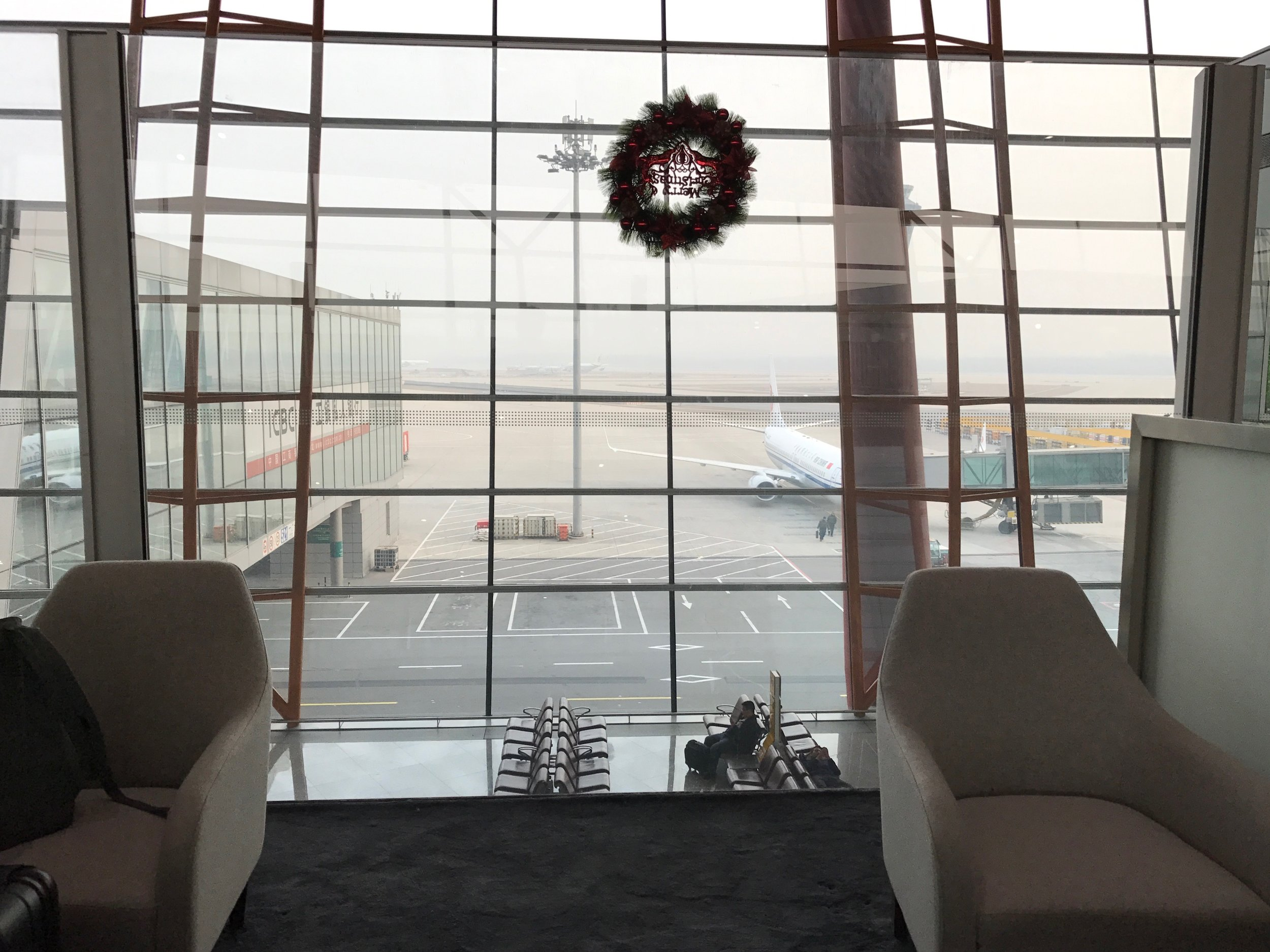 Tarmac view from Cathay Pacific Lounge at Beijing Airport (PEK) T3E