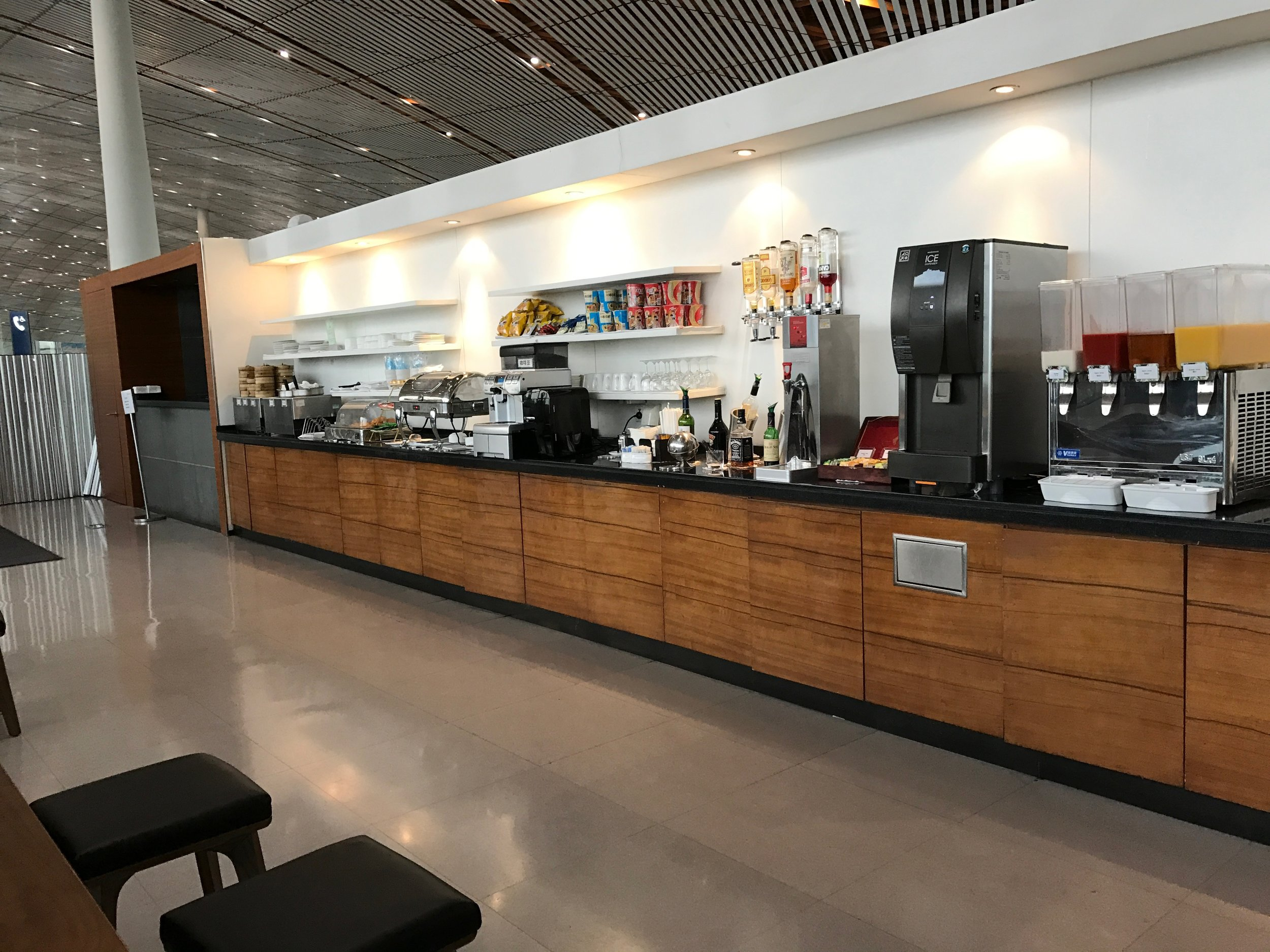 Main food and drink selection at Cathay Pacific Lounge, Beijing Airport (PEK) T3E