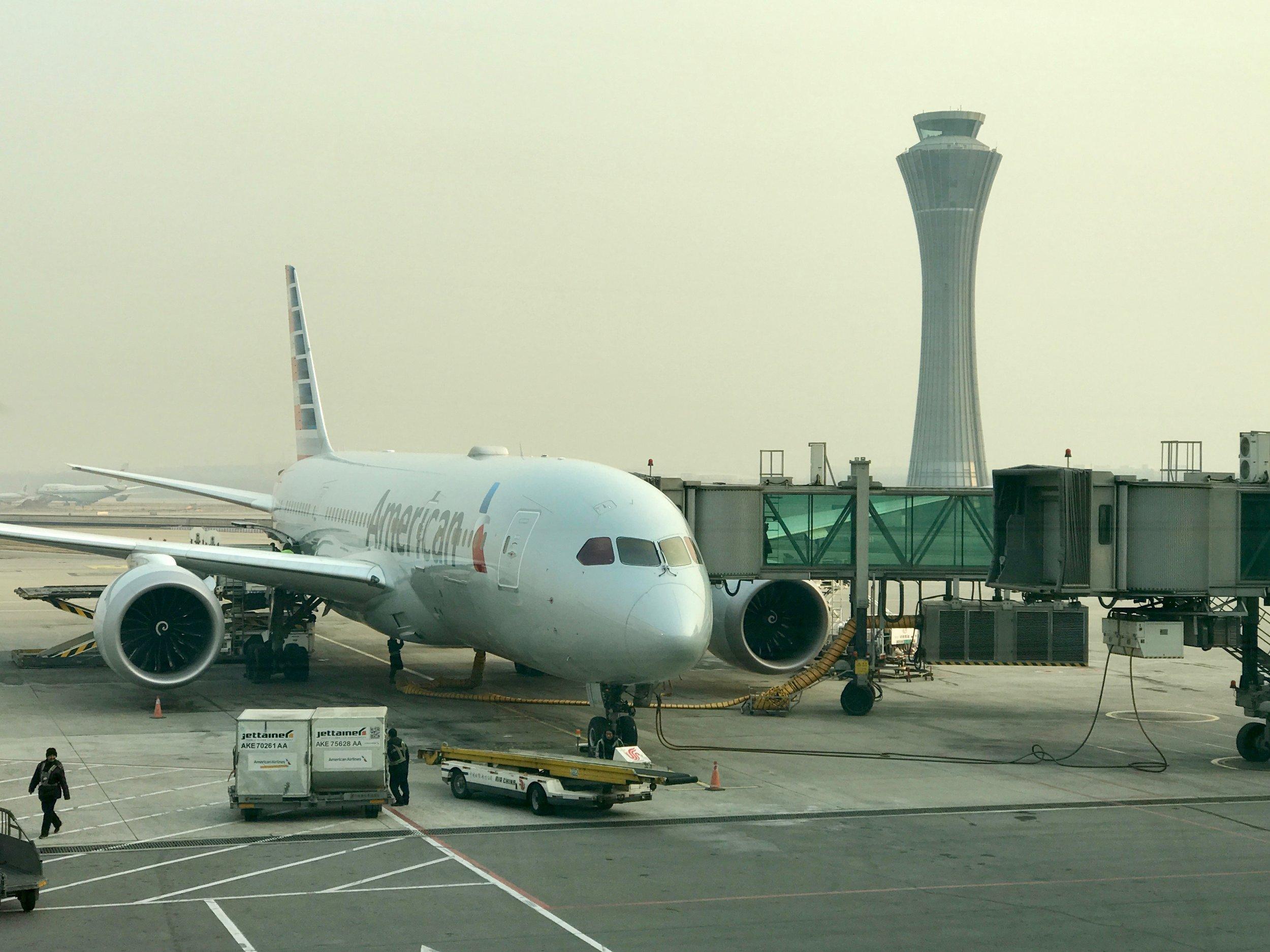 American Airlines 787 Dreamliner at Beijing Airport (PEK)