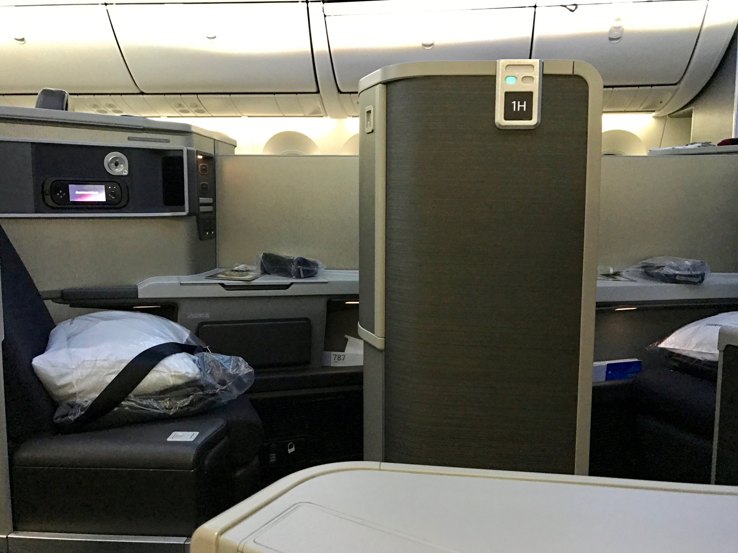 American Airlines 787-8 Dreamliner business class suites - forward and rear-facing