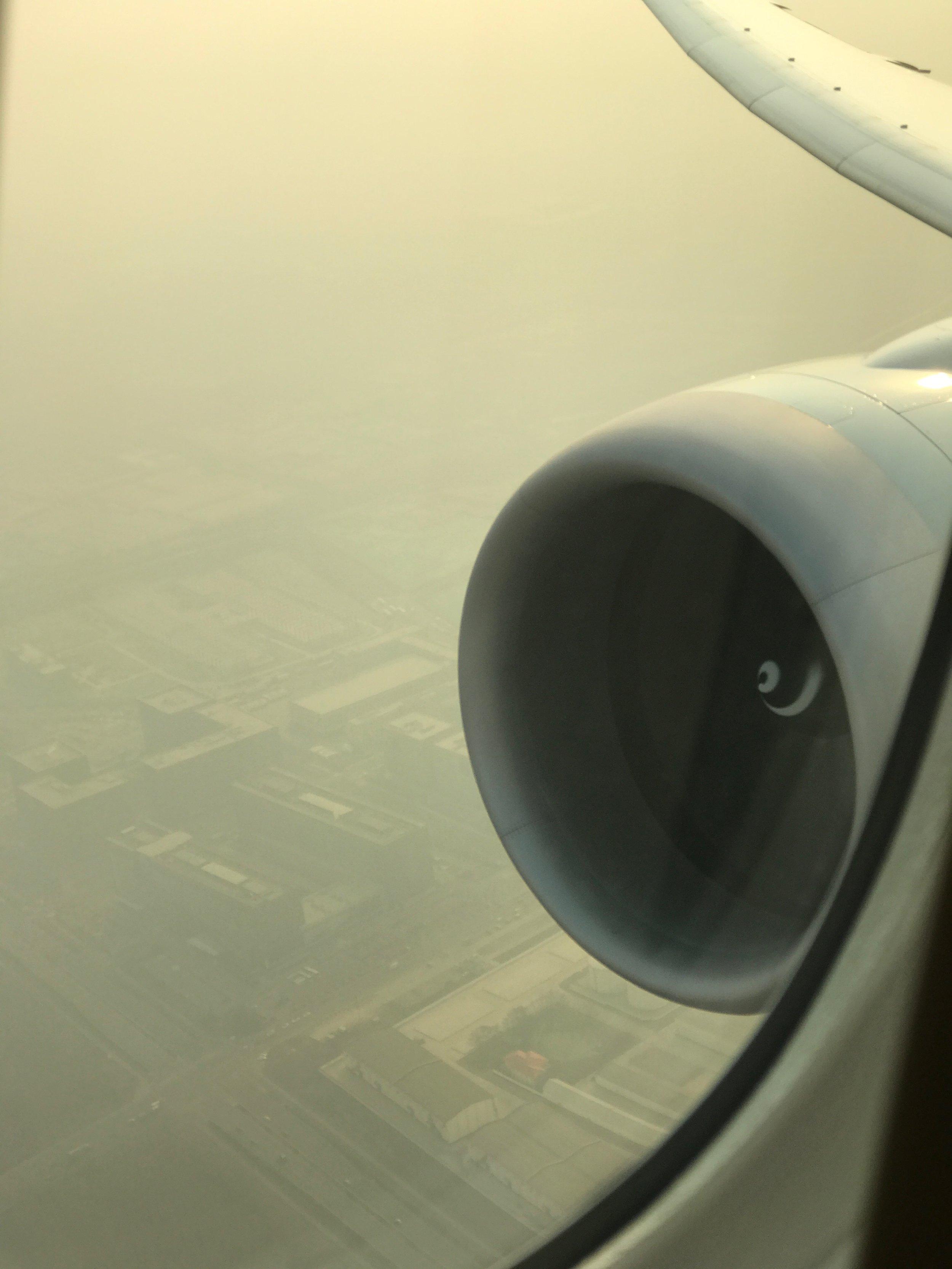 Takeoff through the smog