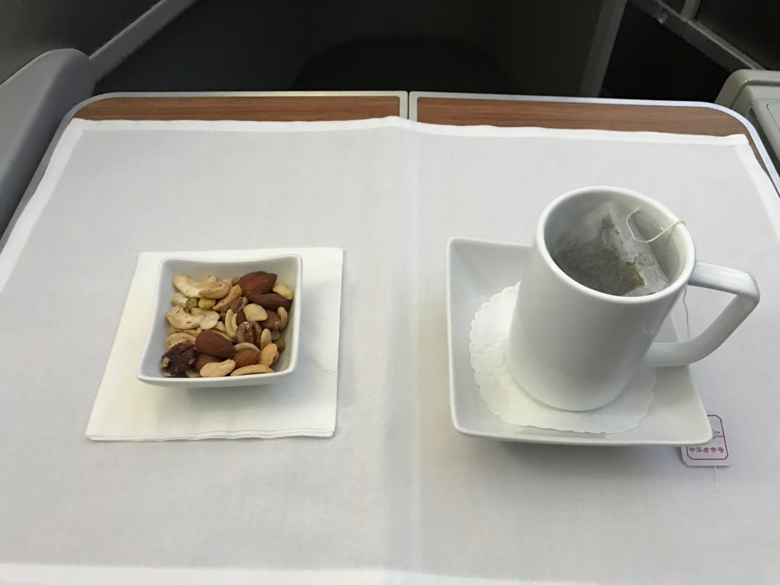 Warm nuts and hot tea - AA Business Class 787