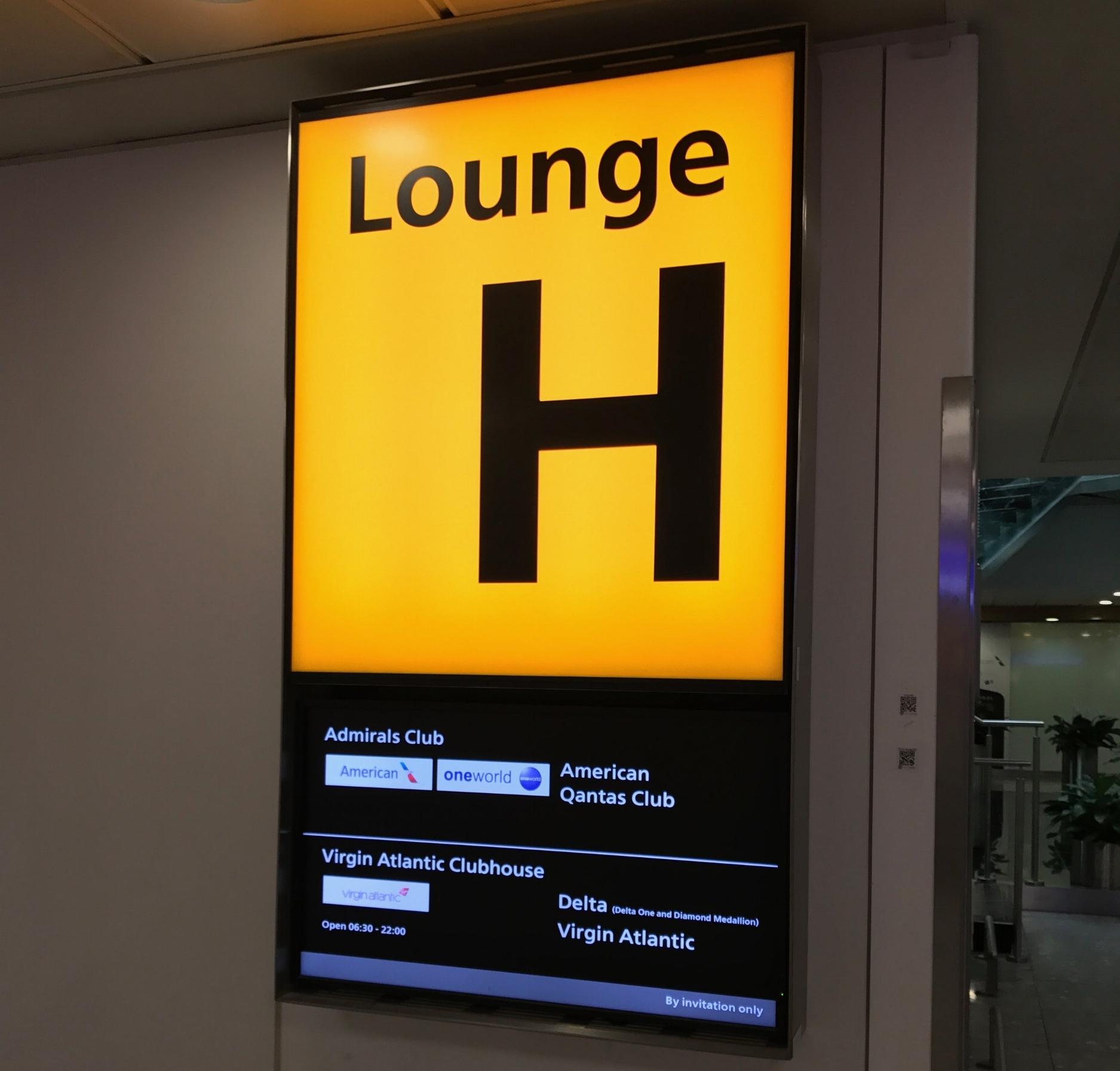 Lounge H sign