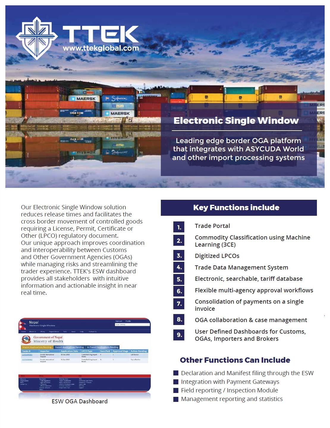 """Our ESW solution can optimize the management of trade facilitation and provide a Single Window for the exchange of trade-related documents between the trading community, customs, and Other Government Agencies (OGAs). - Our ESW provides a public """"one stop"""" user-friendly repository for comprehensive tariff and regulatory trade information, government advisories, and training materials.Download our ESW Brochure in PDF Format."""