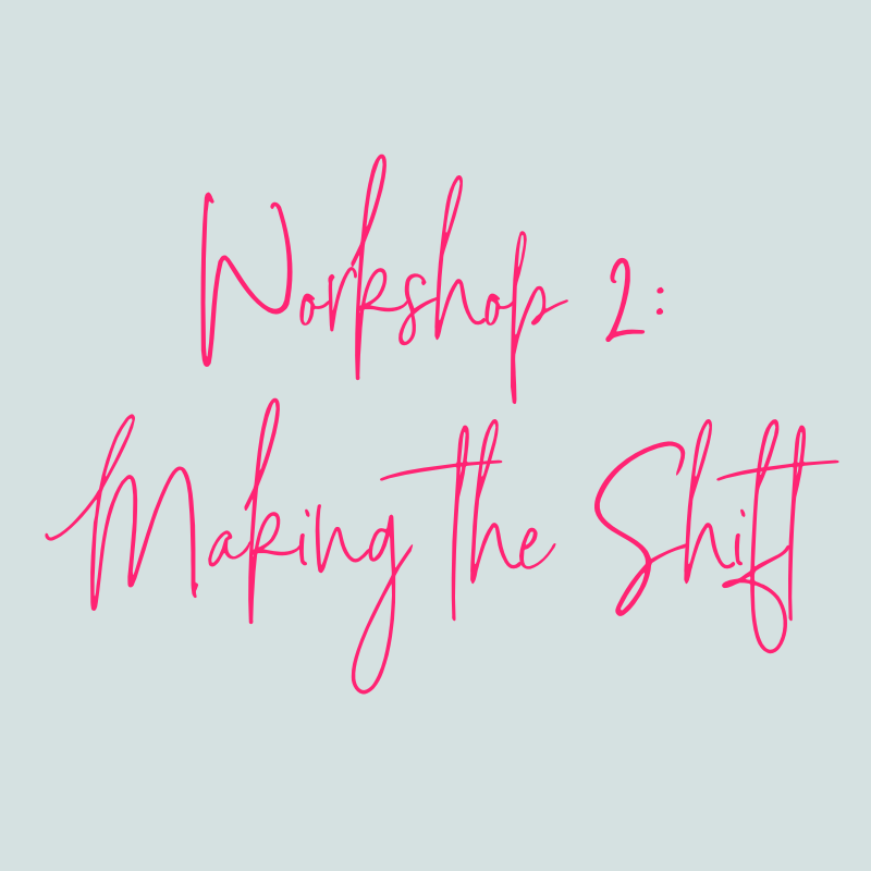 WORKSHOP 2: MAKING THE SHIFTYou may be wired to be a little more ramped up about life than you'd like, BUT you have way more control than you might think when it comes to shifting from stress to calm.In Workshop 2, you'll learn that you are not your stress and instead your stress and overwhelm are here to help you grow and expand. AND, you'll begin learning how to create your own personal CALM Remedy Kit through the 3-5 minute coaching videos and worksheets that walk you through the tools in this workshop. -