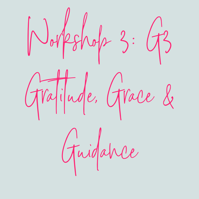 WORKSHOP 3: G3 - GRATITUDE, GRACE & GUIDANCEBecause learning to shift from stressed + overwhelmed to calm in minutes is a process, we are meeting you right where you are in the workshop of your daily life. In Workshop 3, you'll learn about how to shift from 'destination thinking' to 'journey thinking'. You'll also learn how to infuse your every day with gratitude, guidance and grace so that you can to be proactive and notice + name your unique obstacles and what they are here to teach you about yourself. You'll receive additional 3-5 minute coaching videos and tools to add to your CALM Remedy Kit. -