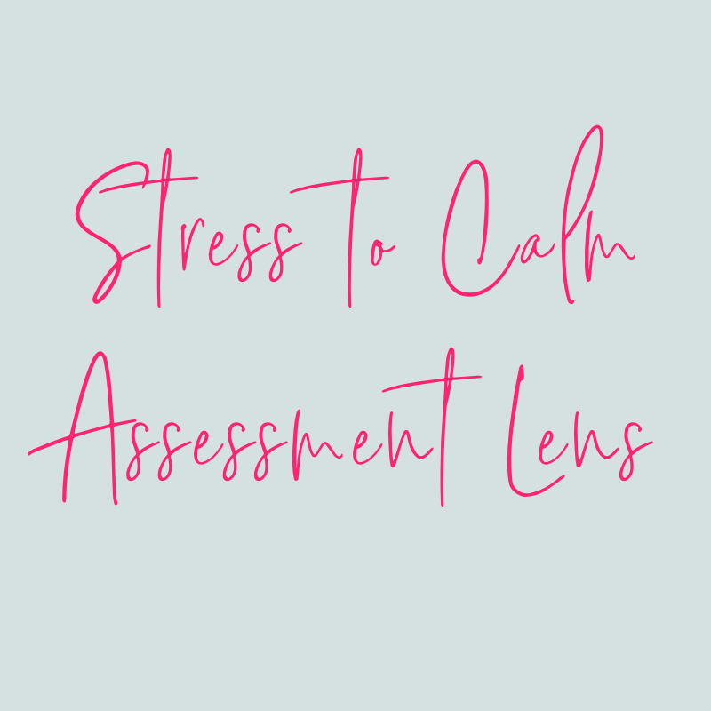 STRESS TO CALM ASSESSMENT LENSLet's start by getting a good picture of your current level of stress with our Stressed to Calm Assessment Lens tool so that you can actually see your changes over the 4 weeks. -