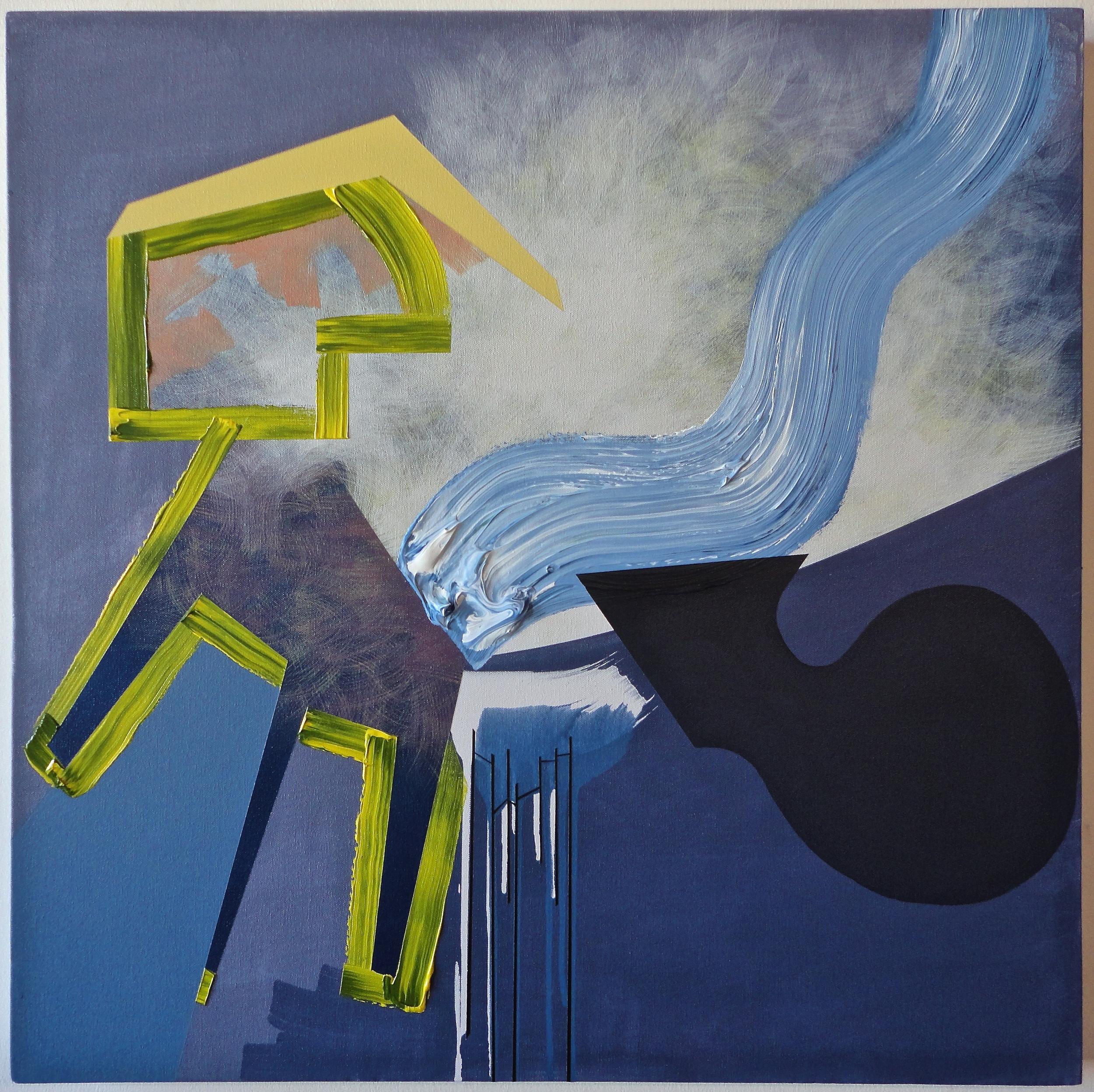 "Untitled. 01/01/16, $350.00, 30""Hx30""Wx1 1/2""D, metallic/acrylic/on canvas."