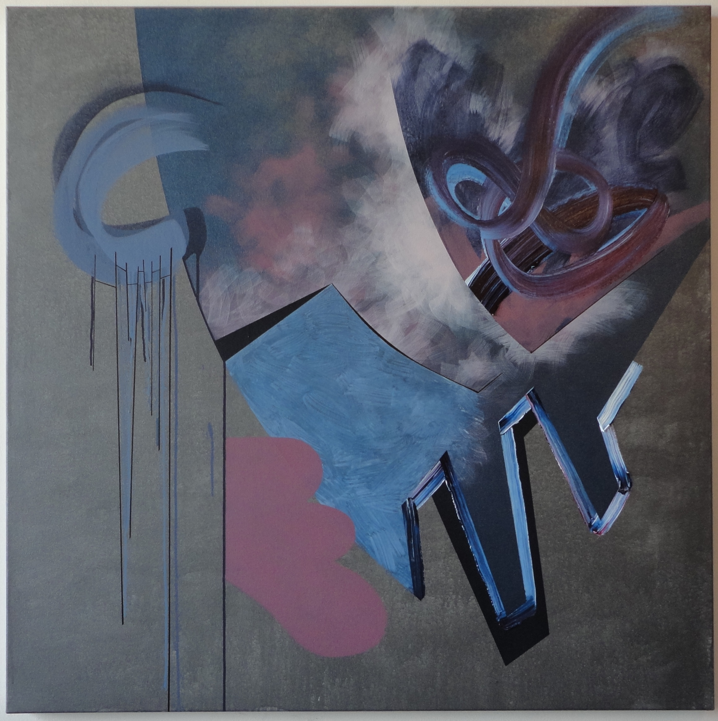 "Untitled. 11/09/15, $550.00, 48""Hx48""Wx1 1/2""D, metallic/acrylic/on canvas."