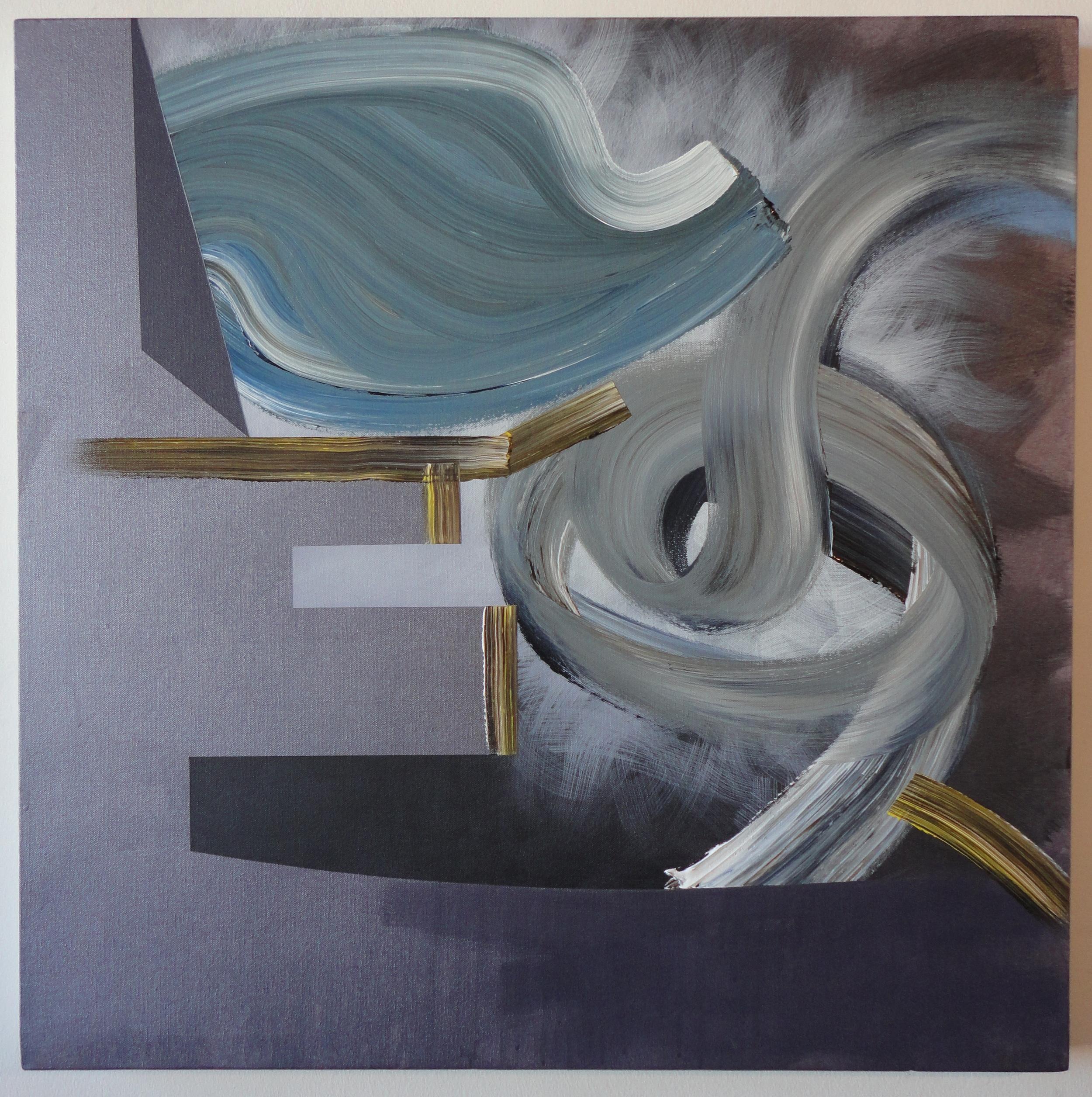 "Untitled. 09/24/15, $350.00, 30""Hx30""Wx1 1/2""D, metallic/acrylic/on canvas."