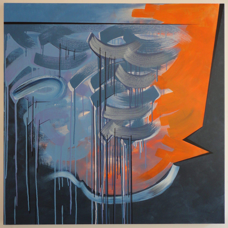 "Untitled (Seeking), $350.00, 05/18/14, 40""Hx40""Wx1.5""D, acrylic on canvas."