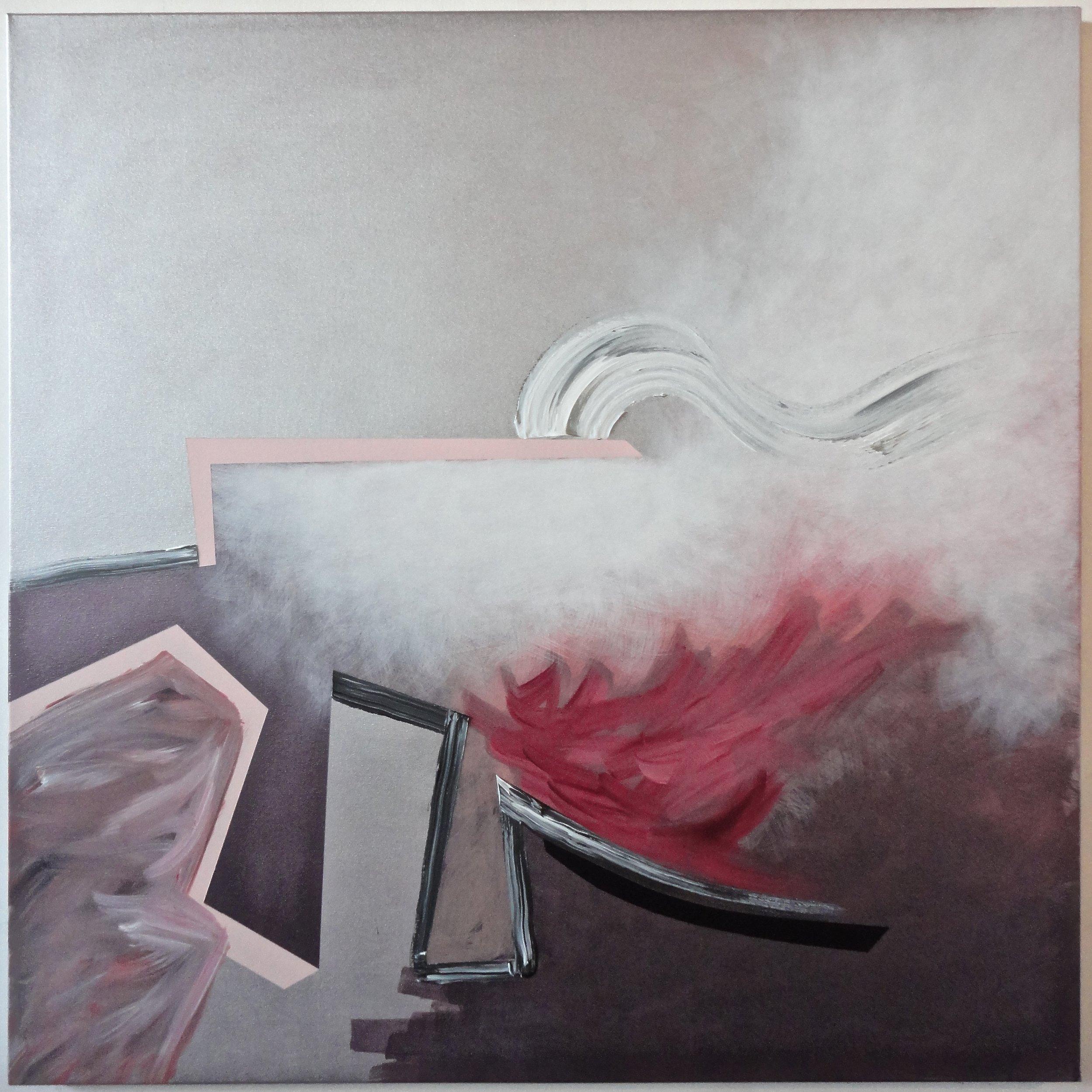 "SOLD. Untitled. 2015, 48""Hx48""Wx1.5""D, acrylic/metallic paint, on canvas."
