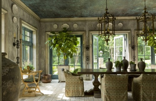 Jasmine Sconces in a French Provincial style sun room.