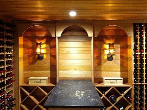 Camelot Sconces in wine cellar.