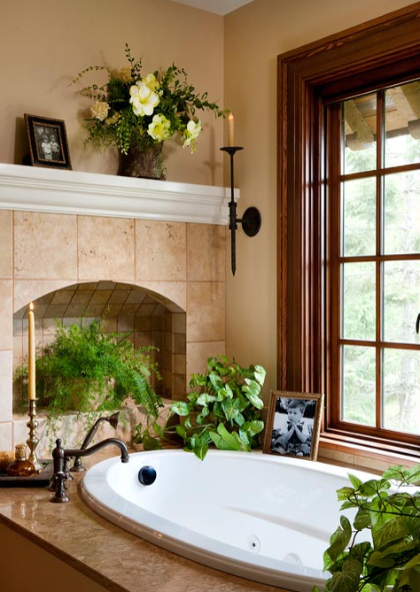 Classic sconce in a traditional style bathroom.