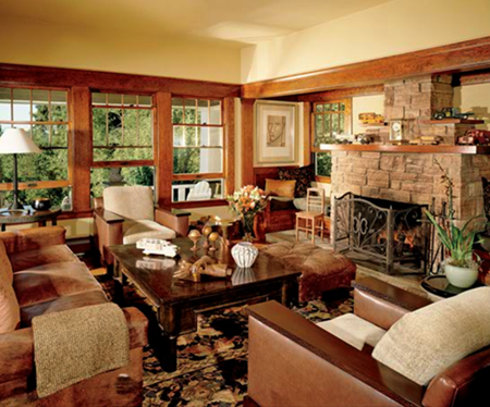 Wrought iron lamps and fire place accessories in a craftsman style home.