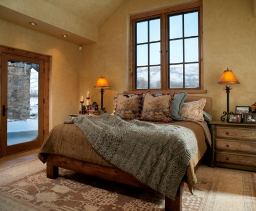 Bedside lamps in a Colorado lodge.