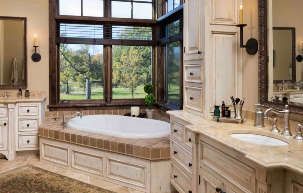 French country inspired masterbath with Roma Sconces.
